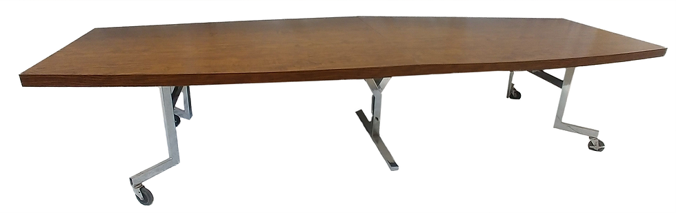 Folding conference table with metal legs open side view