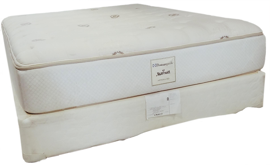 white queen mattress and box spring side view