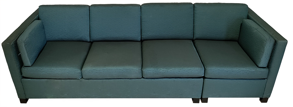 two piece teal sofa bed front view