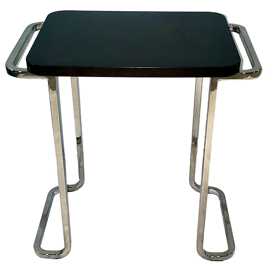 dark wood accent table with metal bars for legs