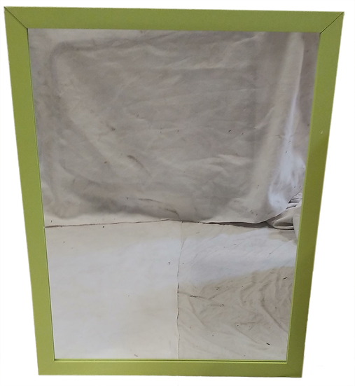 mirror with light green frame front view