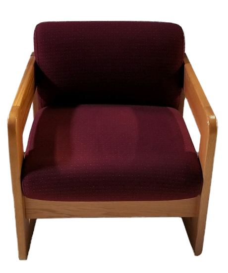 large burgundy sled chair with light wood arms and legs front view