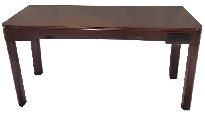 dark wood desk with outlets in front front view