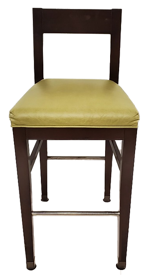 dark wooden barstool with light green seat front view