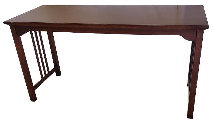 dark wood long work table side view