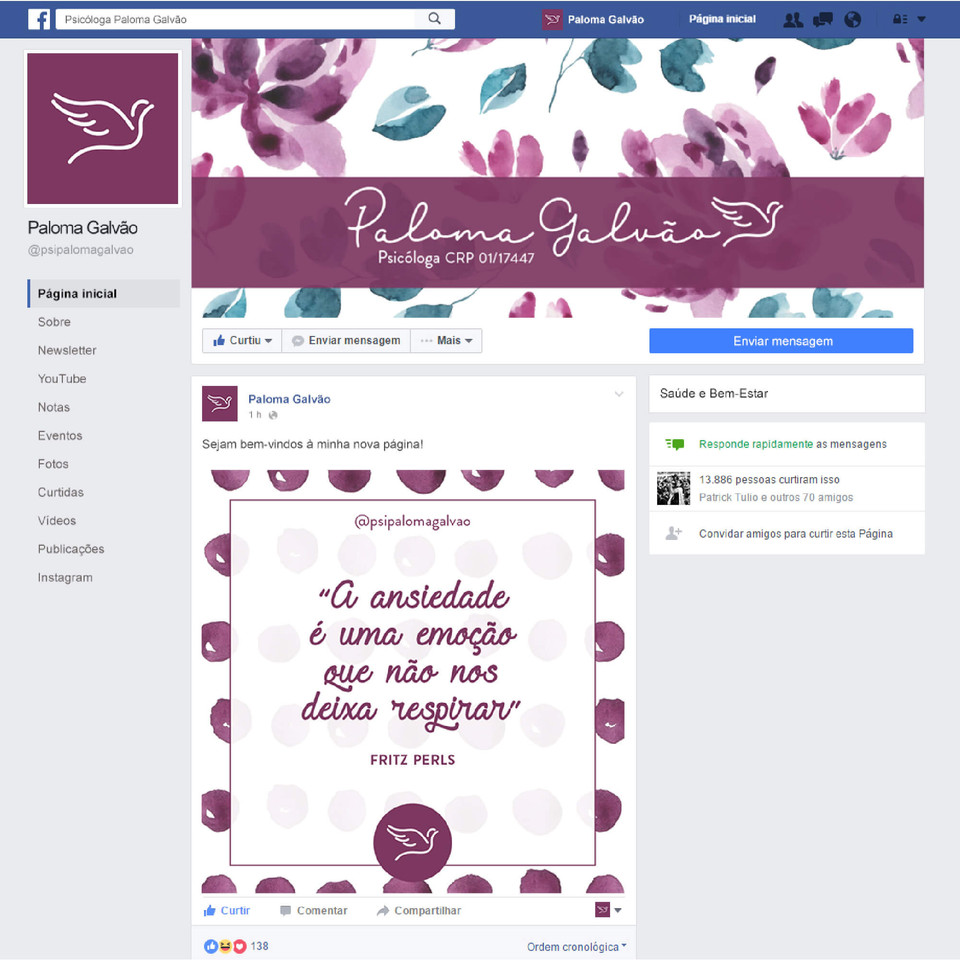 projeção da página do facebook