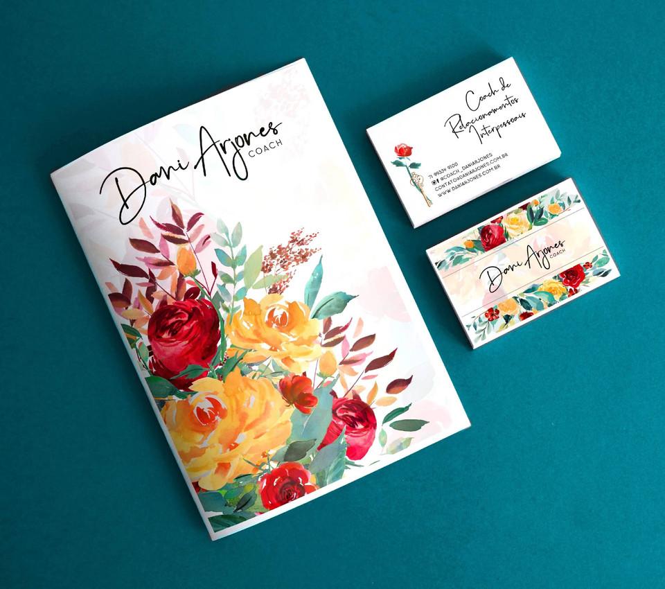 pasta e cartão de visitas
