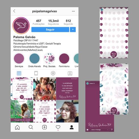 projeção do feed do insta e background para stories