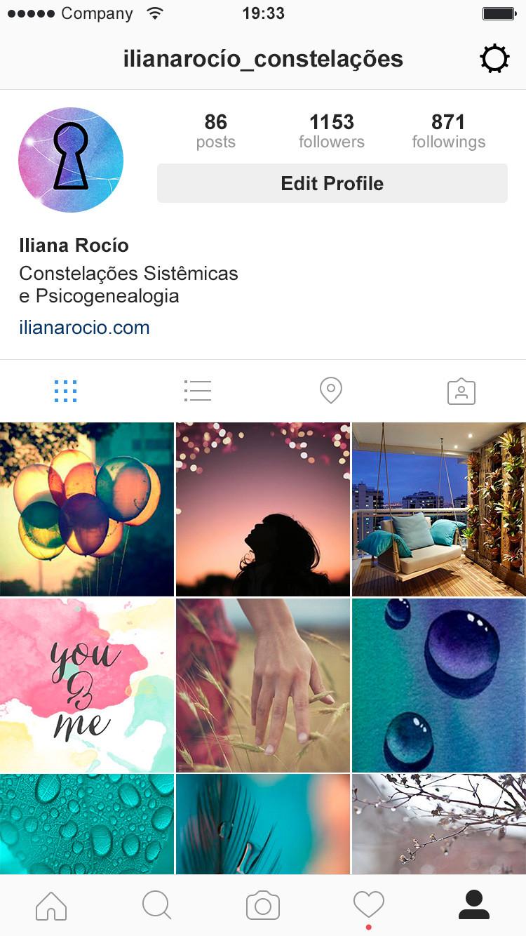 projeção do feed do instagram