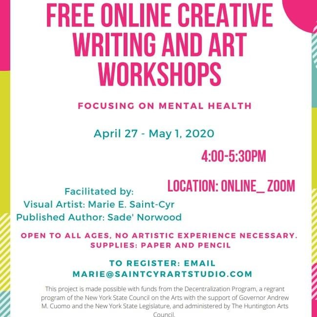FREE CREATIVE WRITING AND ARTS WORKSHOP FOR MENTAL HEALTH