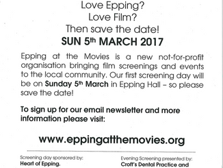 Epping at the Movies Sun 5th March 2017 Epping Hall CM16 5JU