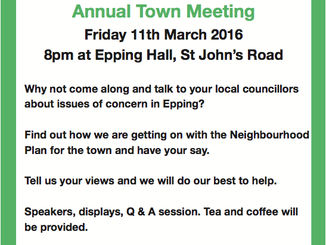 Annual Town Meeting 2016: Friday 11th March, 8pm, Epping Hall, St John's Road