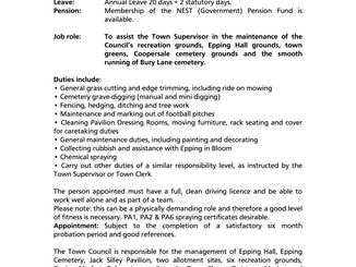 Epping Town Council Job Vacancy Assistant Groundsperson