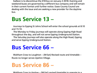 Bus service revisions affecting Epping 418, 13, 66, 86, 87