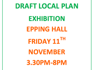 Draft Local Plan Exhibition Epping Hall Friday 11th November 2016 3.30pm-8pm