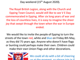 VE Day 75, Friday 8th May 2020: Dress your homes in red, white and blue if you can do it safely