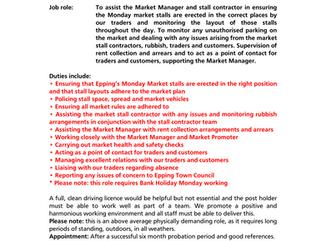 Epping Town Council Job Vacancy: Market Supervisor