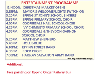Epping Christmas Market Programme: Friday 6th December 2019