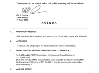 Annual Town Meeting Friday 13th April at 8pm at Epping Hall