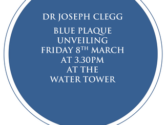 Blue Plaque unveiling, Dr Joseph Clegg Friday 8th March 2019: 3.30pm, Epping Water Tower