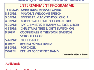 Epping Christmas Market: Friday 7th December 2018: 12 noon to 8pm Programme of Events