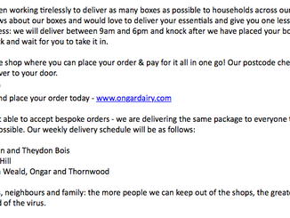 Ongar Dairy Delivery Box Service