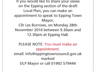 Discuss Epping Forest District Council's draft Local Plan with Epping Town Mayor