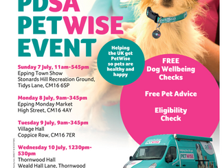 Free dog checks: Epping Town Show 7th July, Epping Market Monday 8th July, Theydon Bois 9th July, Th