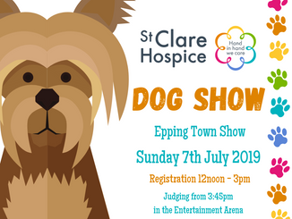 St Clare Hospice Dog Show at Epping Town Show Sunday 7th July 2019