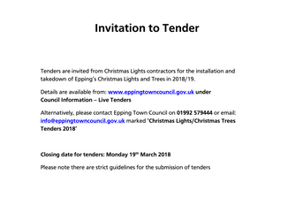 Epping Christmas Lights & Christmas Trees 2018 tenders invited
