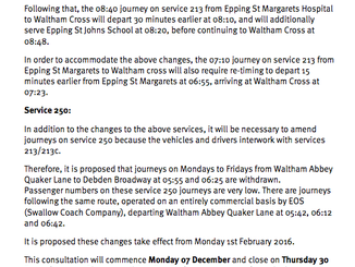 Bus review - Changes to the 213/213c and 250 services (Waltham Abbey to Debden)