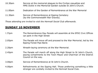 Remembrance Services in Epping: 8th to 10th November 2019