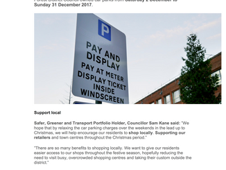 Free parking throughout December - selected car parks