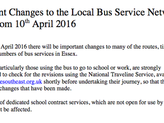 Changes to bus services