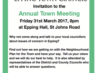 Annual Town Meeting Friday 31st March 2017 8pm Epping Hall, St Johns Road, CM16 5JU