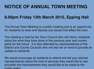 Annual Town Meeting - Friday 13th March 2015