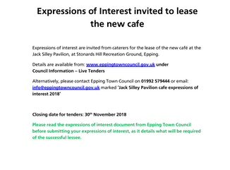 New Jack Silley Pavilion cafe lease: expressions of interest requested