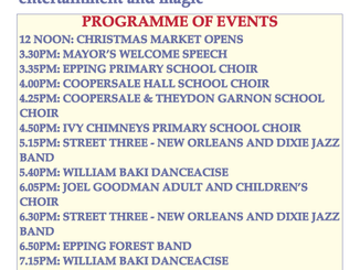 Epping Christmas Market Friday 2nd December 2016 12 noon to 8pm Programme of events