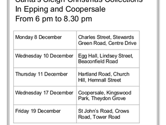Rotary Santa's Sleigh Collections Timetable