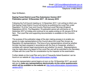 Epping Forest District Council Draft Local Plan: How to comment deadline 29th January 2018 5pm