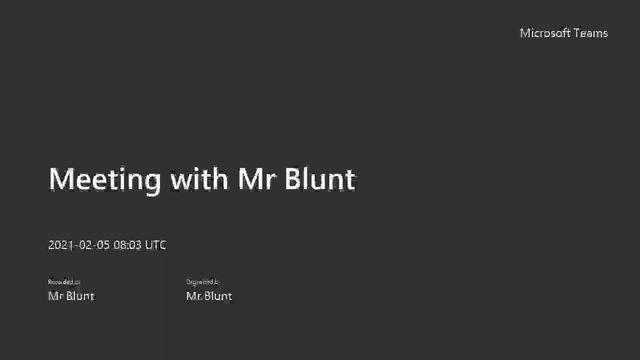 Mr Blunt's Challenge...