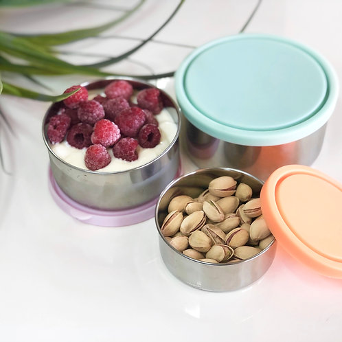 EVER ECO Stainless Steel Round Containers Spring Pastels