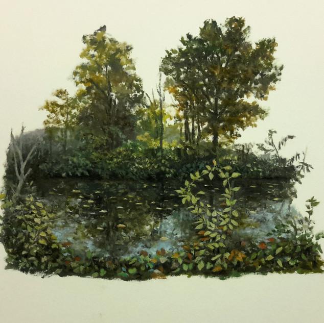 La Rivière  (2018, huile sur papier, 31