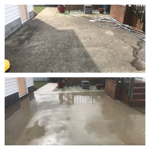 Concrete patio and brick cleaning