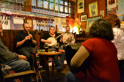 Playing bodhran at Cobblestone