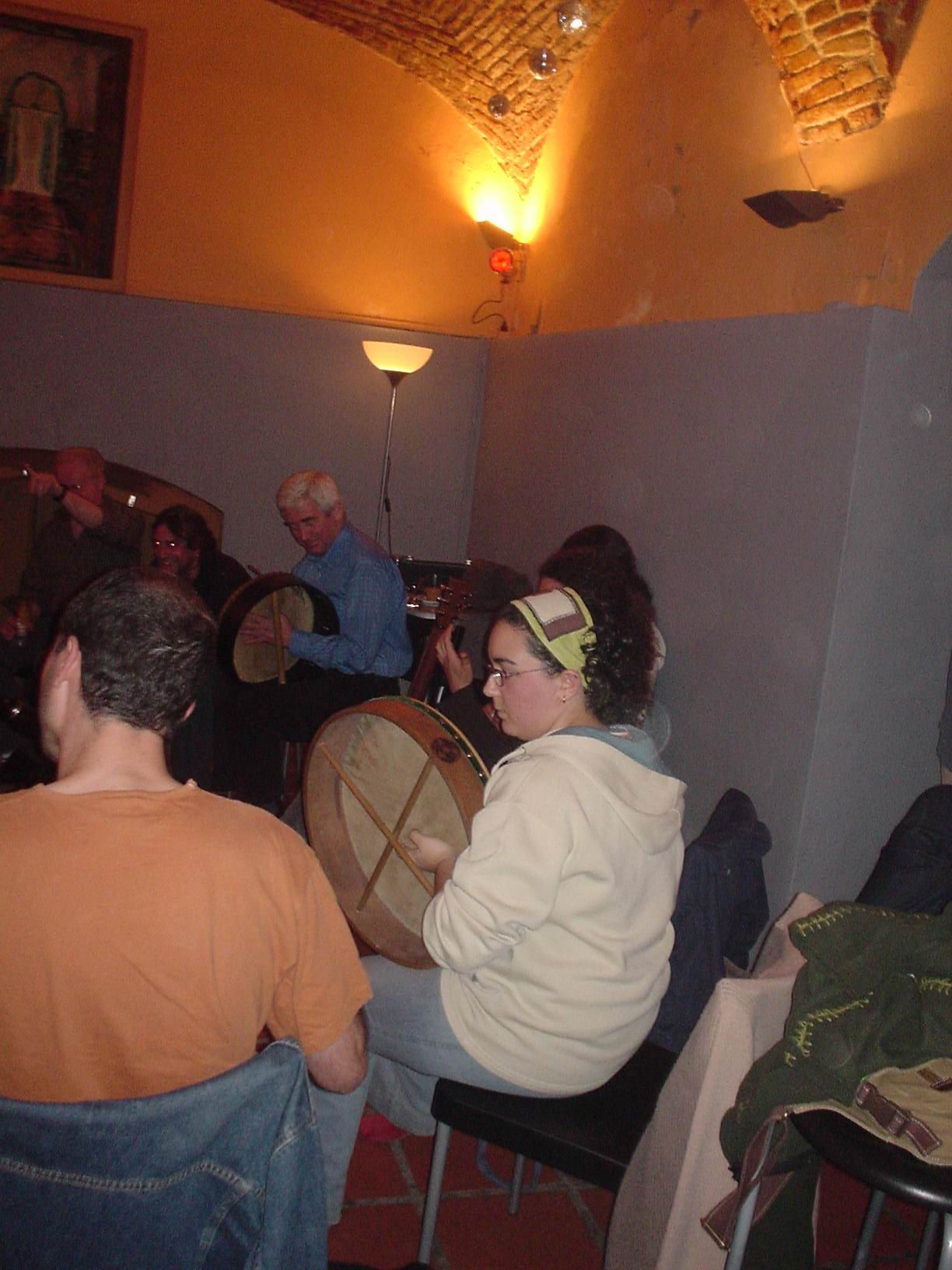 Playing bodhran with Seamus O'Kane