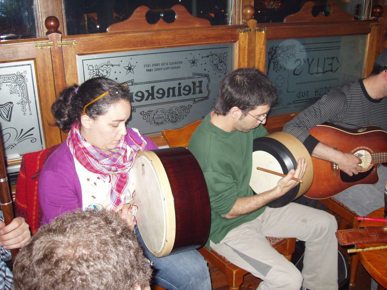 Playing bodhran at Kelly's