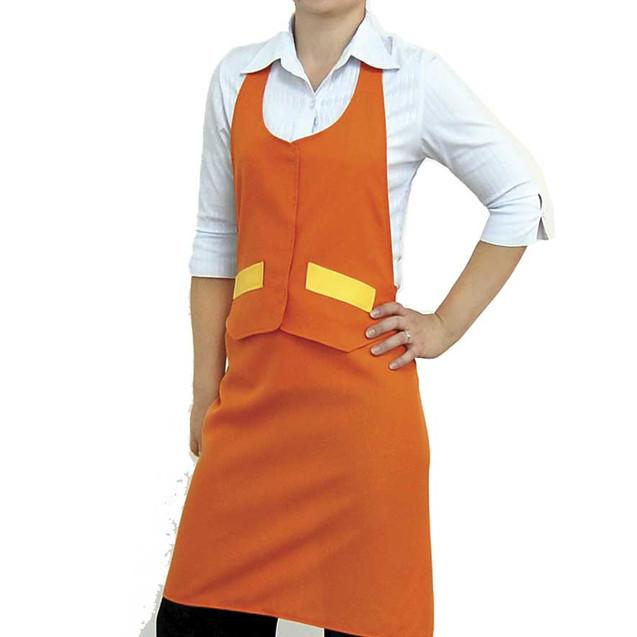 Оранжевый фартук до колен