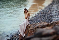 professional model photography sunshine coast: portfolio photoshoot of female on beach cliff