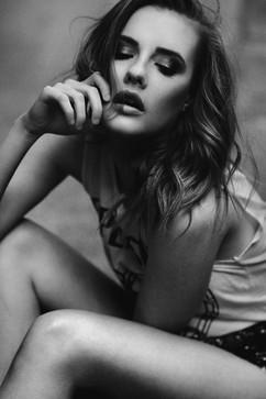 professional model photography brisbane: black and white headshot of female model